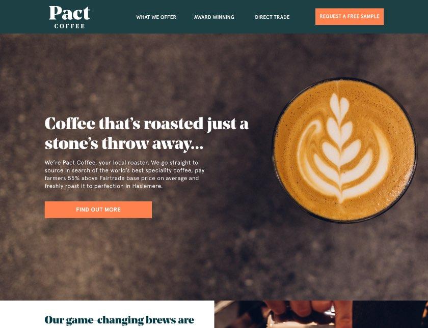 Pact Coffee Website iPad